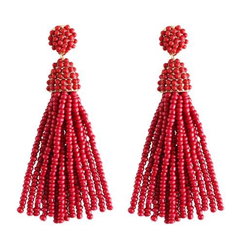 (NLCAC Women's Beaded tassel earrings Long Fringe Drop Earrings Dangle 6 Colors (wine-red))