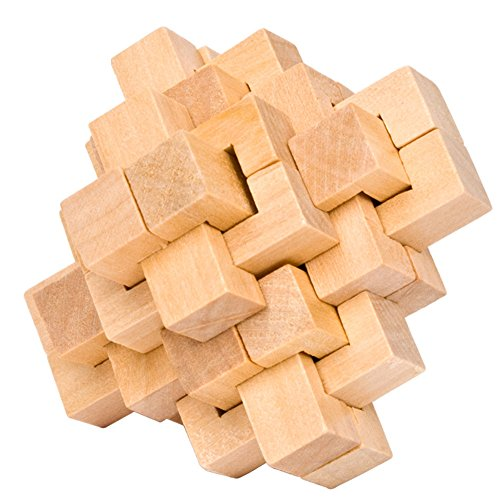 Ahyuan Handmade Wooden Puzzle 24 PCS Interlocking Brain Teasers Toy Intelligence Game Wisdom Logic Mind Challenge Brainteaser Scientific Training Burr Puzzles for Adults/Kids -