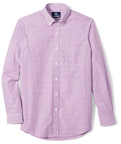 BUTTONED DOWN Men's Classic Fit Supima Cotton Button-Collar Pattern Dress Casual Shirt, Purple Check, 18-18.5