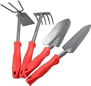 HENGFAN Hand Rake Garden Tool, Gardening Hand Tools Set,Cultivator Hand Rake with Soft Rubberized Non-Slip Ergonomic Handle,Garden Gifts for Women & Men (Red) Pack of 4