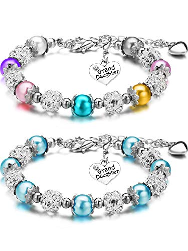 (2 Pieces Granddaughter Bracelets Charm Heart Pendant Rhinestone Crystal Balls Faux Pearls Jewelry Gift (Multi-color + Light Blue))