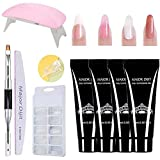 Poly Nail Extension Gel Kit with lamp, Quick Nail Extension Starter Kit, Nail Builder Enhancement Kit with Therapy Pen Clip Nail Buffing Strip and Others for Nails Daily Care