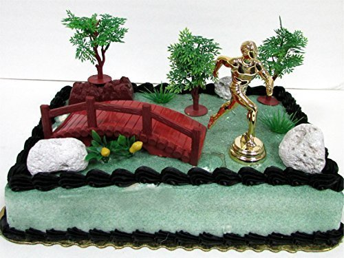 Marathon Running Nature Scape Themed 10 Piece Birthday Cake Topper Featuring Jogger Runner and Other Decorative Themed Accessories by Running (Cake Decorations Accessories)