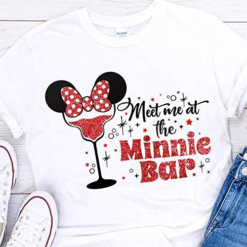 Disney Meet Me at the Minnie Bar Glitter T-Shirts Vacation Apparel Shirts for ()