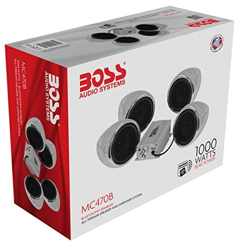 BOSS Audio MC470B Speaker / Amplifier Sound System, Weatherproof Speakers, Bluetooth Amplifier, Inline Volume Control, Ideal For Motorcycles/ATV and 12 Volt Applications ()