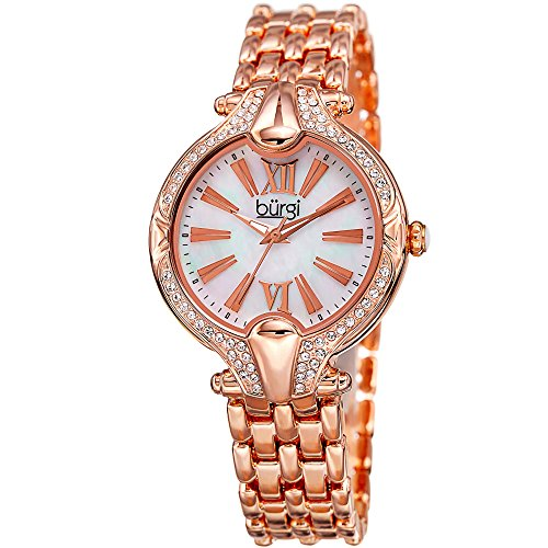 Color Watch Links Crystal Gold (Burgi Women's White Mother-of-Pearl Dial with Swarovski Crystal Accented Rose-Tone Bezel on Rose-Tone Stainless Steel Bracelet Watch BUR163RG)
