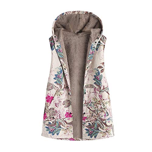 AOJIAN Women Jacket Sleeveless Outwear Plus Size Vest Vintage Floral Print Hooded Zipper Outerwear Coat Waistcoat Gilet Hot Pink