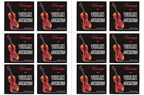 Vizcaya 2 Full Sets Violin String (G-D-A-E, G-D-A-E) for 4/4-3/4 Size Beginner,Student Violin Replacement,Extra 4 string(E1,A2,E1,A2)