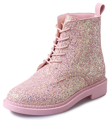 IDIFU Women's Glitter Sequins Low Chunky Heels Lace Up Martin Ankle Boots Short Booties (Pink, 8 B(M) US)