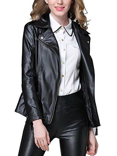 OCHENTA Femme Jacket Fausse Cuir Blouson Court Noir