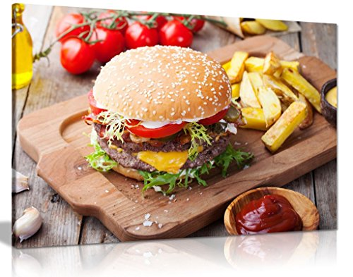 Hamburger Chips On Wood Table Restaurant Food Canvas Wall Art Picture Print (18x12in) by Panther Print