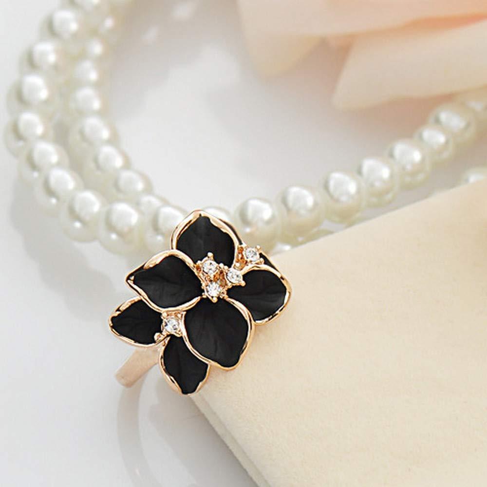 Hunpta@ - Anillo de Mujer con Perlas Blancas y círculos ...