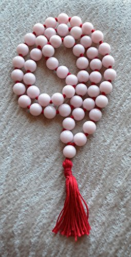 JADE MASHAN PINK JADE HAND KNOTTED EXCLUSIVE JAPA MALA 10 MM BEADS TOP GRADE PRAYER NECKLACE. BLESSED & ENERGIZED (54+1…