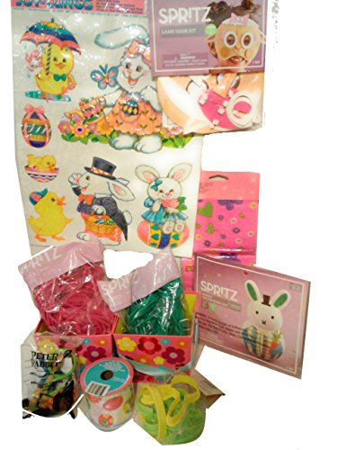 11 Piece - Happy Easter and Spring Set Includes: Pack of 8 Large Window Clings, Pack of 12 Treat Bags, Bunny Decorating Kit, DIY Lamb Mask & Much More