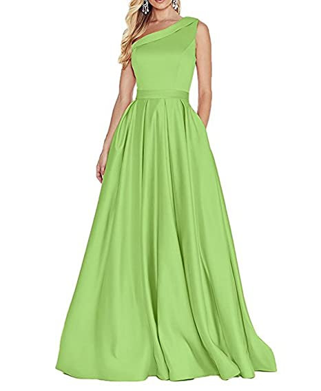 Womens Elegant Long Formal Prom Dresses One Shoulder Pleated Evening Gowns Apple Green ...