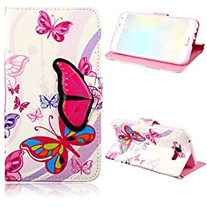 QJM 20150511 Butterfly Pattern PU Leather Case with Stand for Samsung Galaxy E7