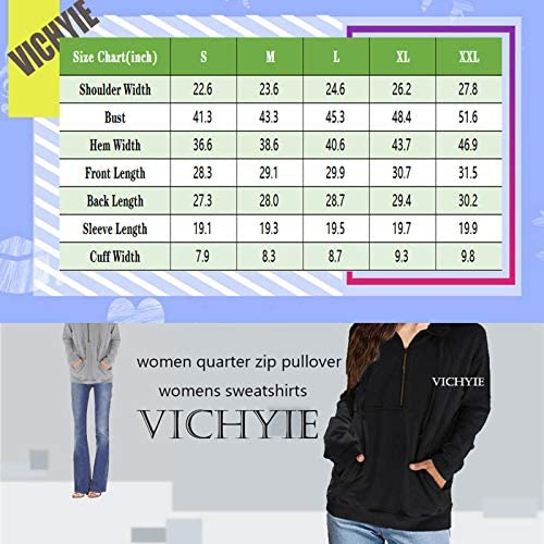 VICHYIE Women Casual Sweatshirts Long Sleeve Lapel Zipper Loose Pullover Tops with Pockets (S-XXL)