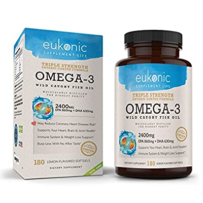 Omega-3 Wild Caught Fish Oil 2400 mg - Triple Strength - EPA 860 mg + DHA 630 mg - 180 Softgels - Lemon Flavored, Burpless, Enteric Coated - For Heart Health, Joint Health, Mood Support, Weight Loss
