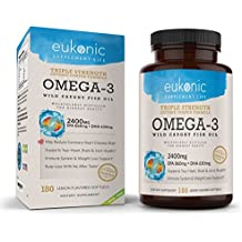 Omega-3 Wild Caught Fish Oil 2400 mg   Triple Strength EPA 860 mg + DHA 630 mg   180 Softgels   Lemon Flavored, Burpless, Enteric Coated   For Heart Health, Joint Health, Mood Support, Weight Loss