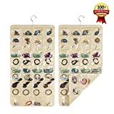 Hanging Jewelry Organizers - Realdios 80 Pockets Non-Woven Dual Sides Wall Hanging Closet Accessory Jewelry Holder Organizer Folding Travel Storage Bag (80pocket-Creamy-White)