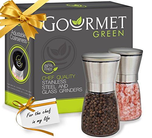 Gourmet Green Salt and Pepper Grinder Set | Updated Salt and Pepper Shakers | w/ Brushed Stainless Steel & Glass | Pure Ceramic Burrs | Pepper Grinder | Salt Grinder | Spice Grinder (Short 5 inches)