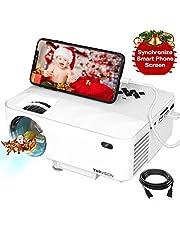 "Mini Beamer, TOPVISION Synchronize Smartphone Screen Video projektor, 1080P unterstützt, 176"" Display, 50000 Stunden LED, kompatibel mit HDMI / USB / TV / DVD für Home Entertainment Office"