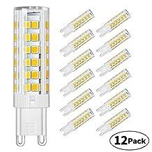 DiCUNO G9 Ceramic Base LED Light Bulbs, 6W (60W Halogen Equivalent), 550LM, Soft White (3000K), G9 Base, G9 Bulbs for Home Lighting, 12-Pack