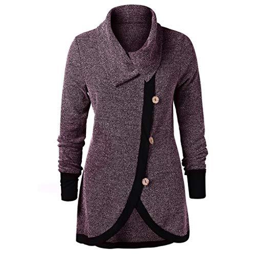Women Plus Size Women Contrast Trim Buttons Knit Top Block Color Long Sleeve Bloues (M, Wine) (Sweatshirt Gildan Embroidered)