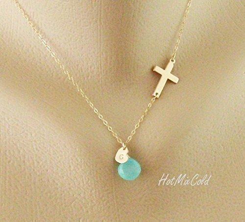 Personalized Monogram Sideways Cross Necklace, Initial Heart Charm Necklace, Birthstone Jewelry, Blessed Necklace, Mother (Charm Birthstone Necklace)