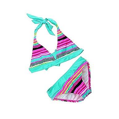 [Bikini Kinder Mädchen] 2tlg Neckholder Bunte Bikini Tankini Set Baby Schwimmanzug Badeanzug Bademode