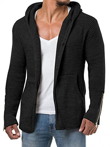 EastLife Mens Cardigans Knitted Hoodie Jacket Long Sleeve Casual Sweater with Side Pockets