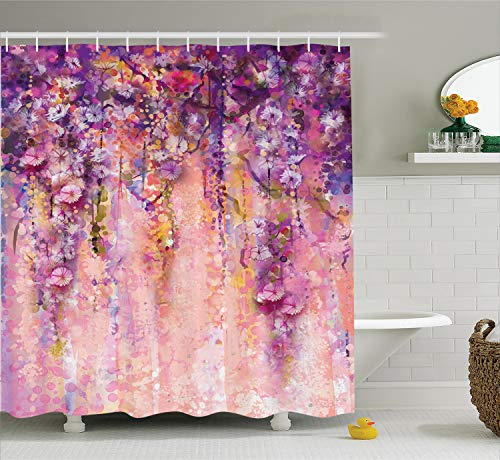 Ambesonne Watercolor Flower Decor Collection, Wisteria Tree in Blossom Romantic Spring Flowers over Bokeh Picture Print, Polyester Fabric Bathroom Shower Curtain Set with Hooks, Peach Aubergine