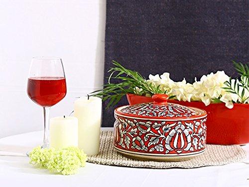 Caffeine Ceramic Handmade red mughal Serving Donga Casserole with Lid  Set of 1