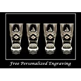 Robinson English Family Coat of Arms Pint Glass Set of 4: Free Shipping & Personalized Engraving