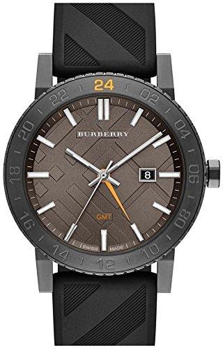 Burberry Brown Dial Stainless Steel Black Rubber Quartz Men's Watch BU9341