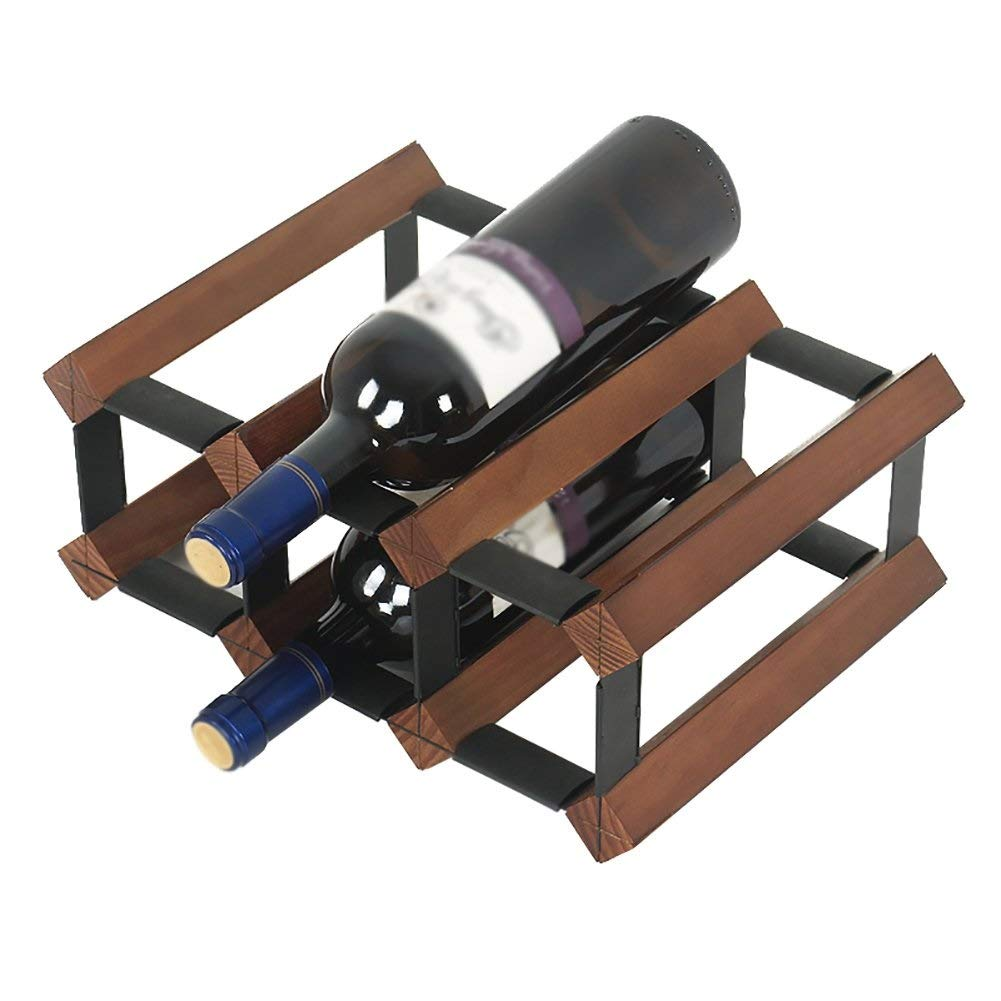 SZPZC Storage Stand Wine Rack Wooden Wine Holder Display Shelf 2 Tier 6 Bottles Capacity Wine Bottle Holder Wine Bottle Rack Wine Shelf Red Wine Rack (Color : Brown) by SZPZC