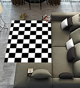 Custom checkered area rugs carpet black white for Checkered carpet black and white