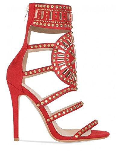 Stiletto verschönert Red Faux LAMODA Suede Womens in Heels wOgEqA