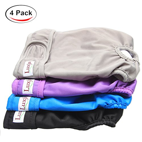 Dog Heat Diaper - Luxja Reusable Female Dog Diapers (Pack of 4), Washable Wraps for Female Dog (Large, Gray+Purple+Black+Blue)