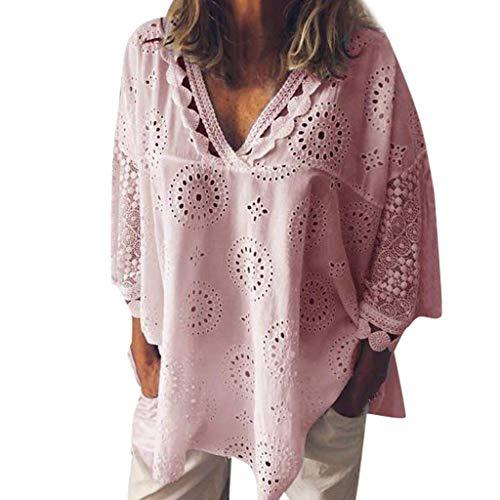 (ALLYOUNG Women's T-Shirt Blouse Half Sleeve Cotton Linen Hollow Out Lace Patchwork Summer Tops (Pink, XXL))