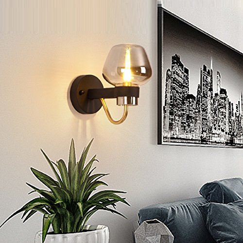 Waineg Modern Luxury Glass Wall Lamp Black Wrought Iron Chassis Creative Living Room Bedroom Aisle Plated Glass Wall Lamp Designer Lamps E27 Bar Ktv Wall Lights 110V 220V by Waineg (Image #2)