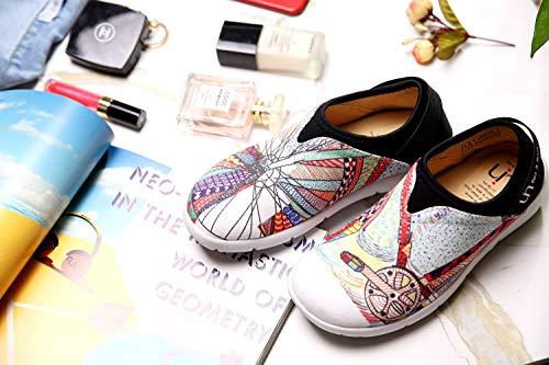 Chaussure Des Peinture on Slip Multicolore De Uin Roue Canevas Femmes dwZqgd