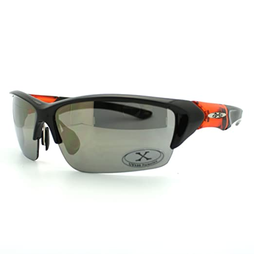 213f0355d2 Mens Sports Sunglasses X-Loop Half Rim Wrap Around Golf Baseball All Sports  Black Orange