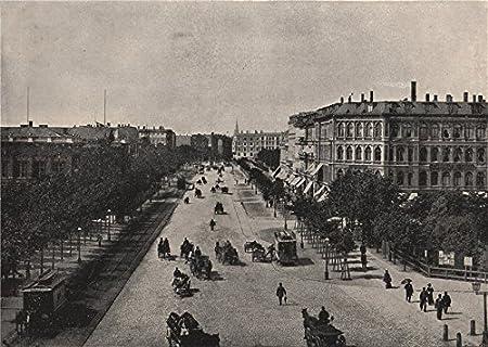 Denmark 1895 old antique print picture COPENHAGEN The Vesterbro/' passage