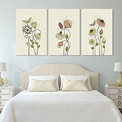 3 Panel Canvas Wall Art - Hand Drawing Style Flowers and Butterflies - Giclee Print Gallery Wrap Modern Home Art Ready to Hang - 24