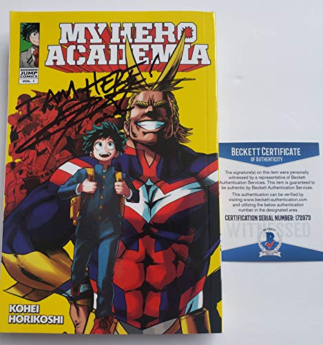 "Chris Sabat autographed Manga Volume 1 Comic Book My Hero Academia All Might""I Am Here!"" Beckett"