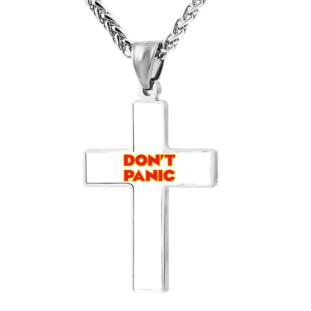 Jewelry Zinc Alloy Chain Necklace for Men Women FollowC Dont Panic Cross Pendant 24 Inches