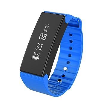 woolala resistente al agua reloj inteligente Monitor de presión arterial oxígeno salud Tracker Bluetooth Deportes actividad pulsera, azul: Amazon.es: ...