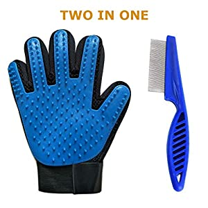SUNRIX Pet Grooming Multicolored Gloves Bundled with Pets Flea Removal Comb/Pets Grooming Tool to Remove Fleas with Anti… Click on image for further info.