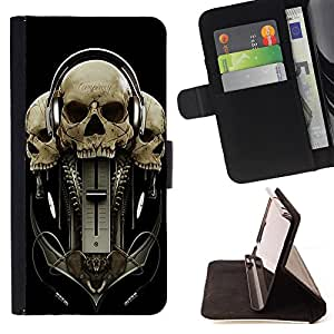 - Skull Devil Diablo - - Premium PU Leather Wallet Case with Card Slots, Cash Compartment and Detachable Wrist Strap FOR Samsung Galaxy S3 III I9300 I9308 I737 King case